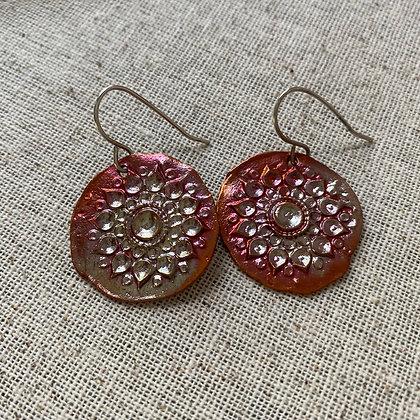 Mandala Earrings in Flame Patina Copper