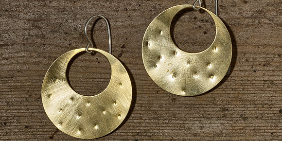 Dimpled Boope Mid-Century Modern Earrings in Brass