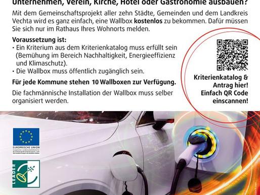 Jetzt zugreifen - kostenlose Wallboxaktion des Landkreises Vechta für Unternehmen und Vereine