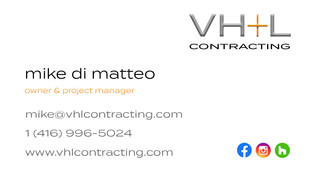 VH+L Contracting - Business Cards Mike D