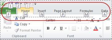 MS Excel Ribbon Shortcuts