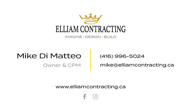 Elliam Contracting- Business Cards (Back