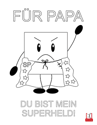 Vatertagsbild (Super-Grimly/Papa) zum Ausmalen vom Lucky-Shirts-Shop, kostenlos auf www.lucky-shirts.de downloaden - Anja Schramm