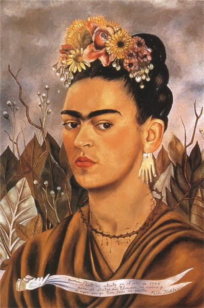 "Image taken from WikiArt (Visual Art Encyclopedia): ""Self Portrait, Dedicated to Dr Eloesser"" by Frida Kahlo"