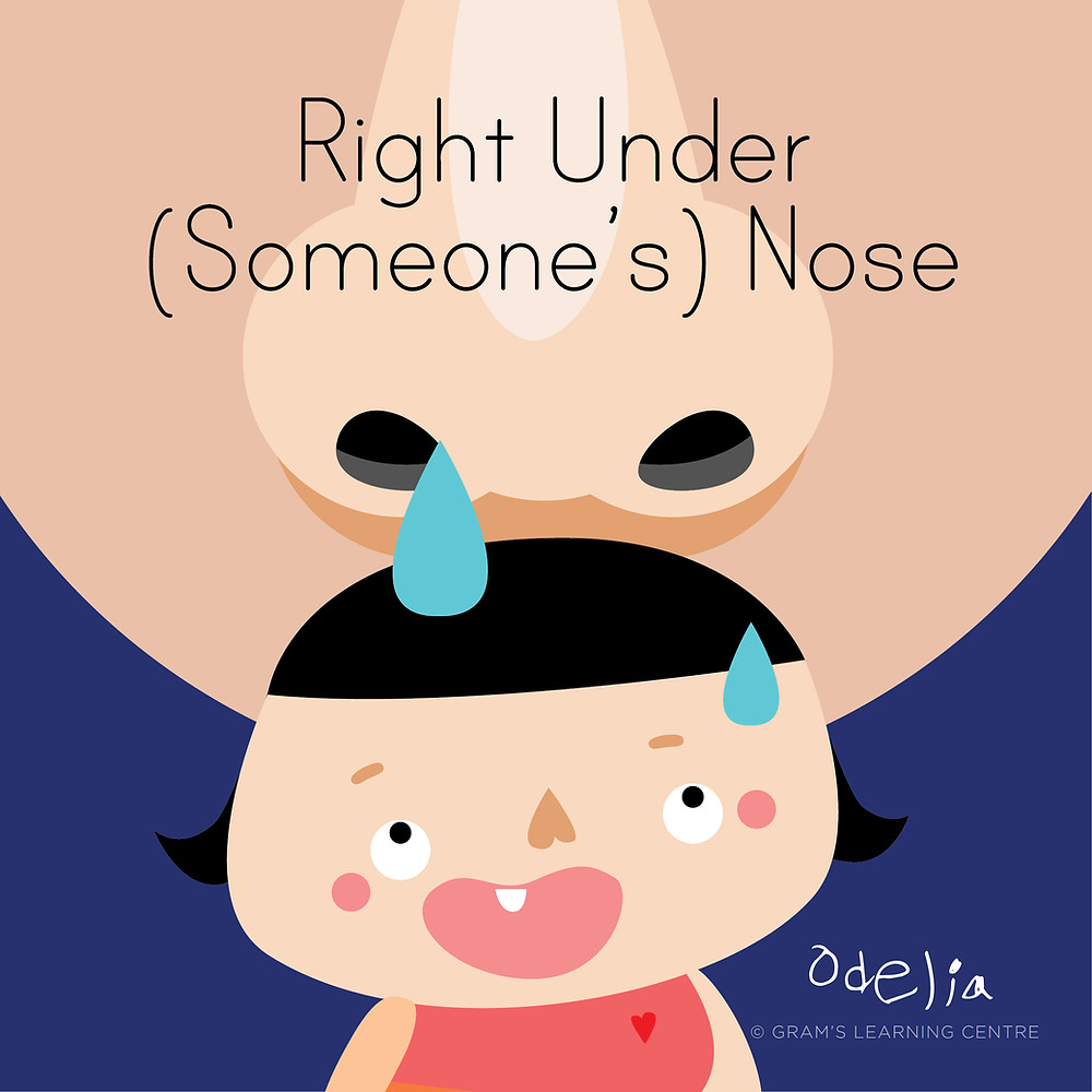 Oops Odelia Idiom - Right Under (someone's) nose