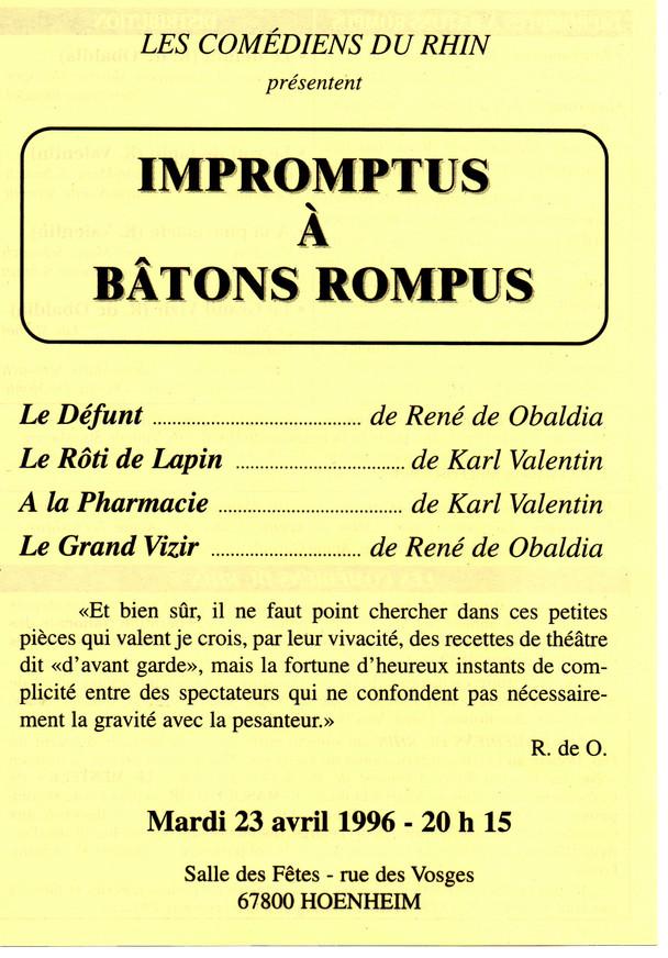 1996 Impromptus à bâtons rompus
