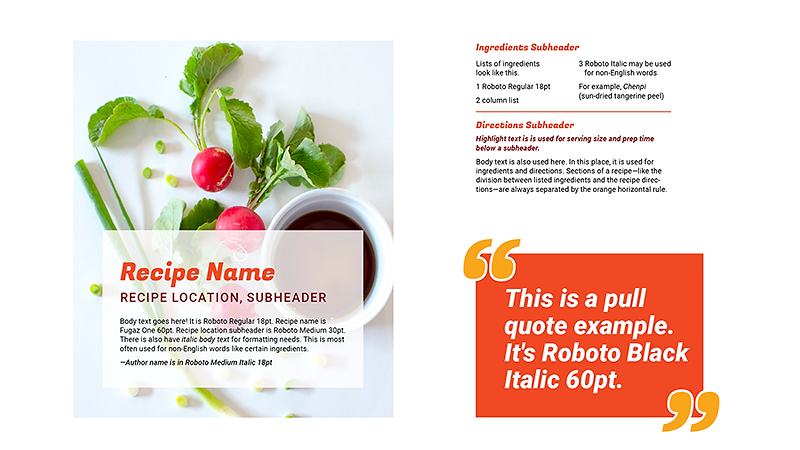 An example of how text, colors, imagery, and styles interact to create consistent layouts