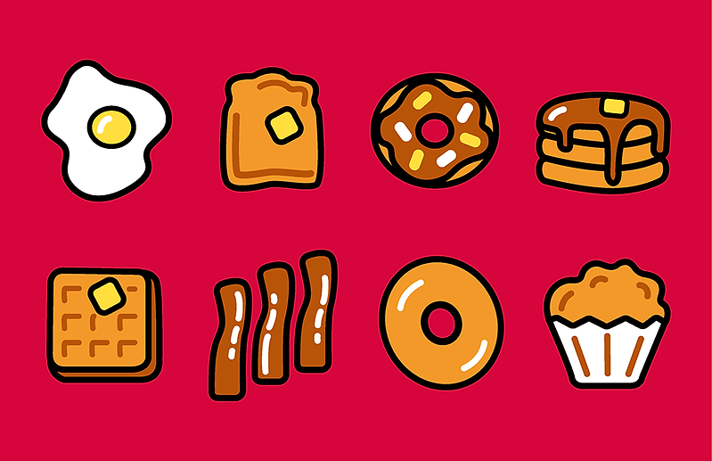 The final icon set incuding eggs, toast, donuts, pancakes, waffles, bacon, bagels, and muffins.
