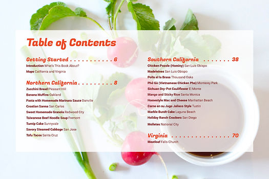 The table of contents spread
