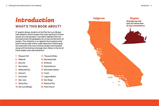 The cookbook introduction with recipes mapped across the states.