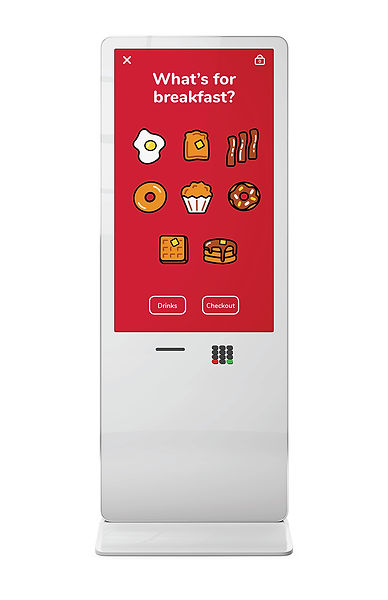 The full ordering kiosk with the home screen.