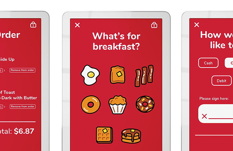 A detail of three kisok screens and the breakfast food icon set.