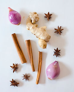 Scallions, ginger root, cinnamon sticks, and star anise on a white background.