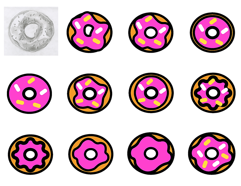 Stages of development for the donut icon including a pencil drawing of a dount, different shaped donuts, and donuts with and without sprinkles.