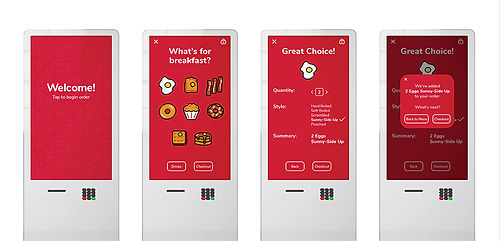 "Four ordering kiosks show the screens from ""Welcome"" to ""Added to Order."""