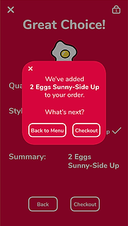 Item added to order confirmation dialog