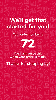 Order placed confirmation screen