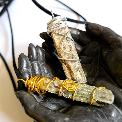 Green Kyanite Wire Wrapped Pendant