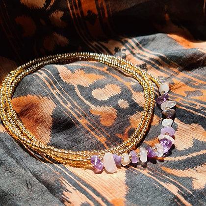 Amethyst and Rose Quartz Waist Beads
