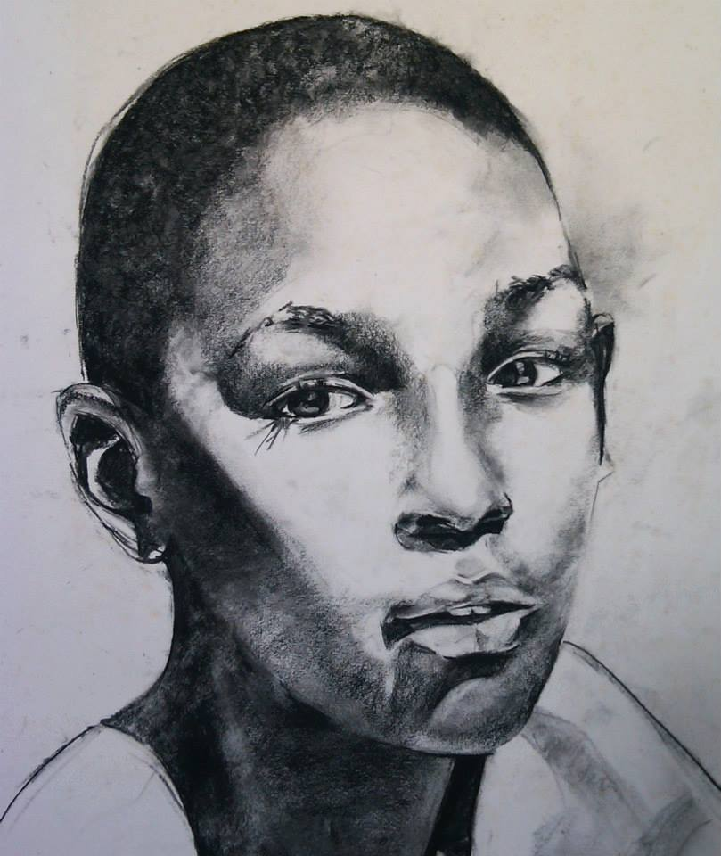 Charcoal study of young boy