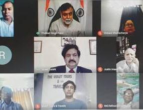"Shri Prahlad Singh Patel addresses a webinar on ""Cross Border Tourism""promoting Buddhist Pilgrimages"