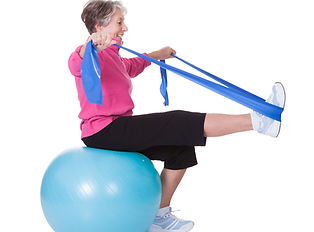 Senior Woman Stretching Exercising Equip