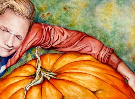 Kirby stealing the pumpkin...