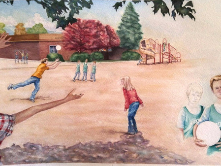 Schoolyard illustration coming to the finish line