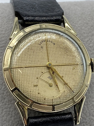 LORD ELGIN CLUBMAN WATCH 14K GOLD FILLED 680 21J WAFFLE FACE
