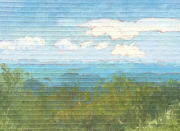 textured oil painting, blue and green artwork, blue ridge mountains art, contemporary blue ridge mountain painting
