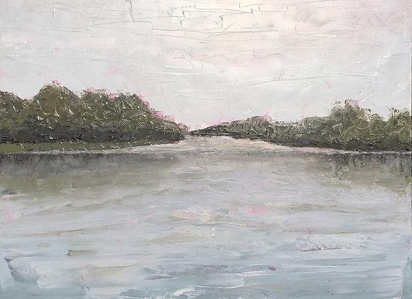 contemporary waterway painting, peaceful water artwork, kayaking scene art, Florida serene painting, grey-blue textured art