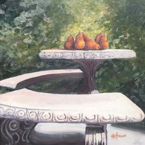 Table of Terracotta Pears by Brenda Hofb