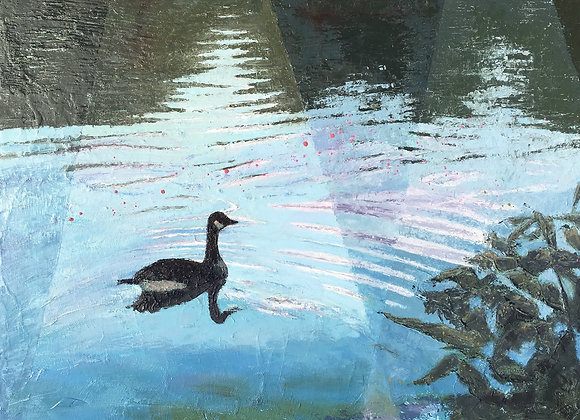 contemporary goose painting, textured water artwork, blue and green art, tranquil water painting, goose water artwork