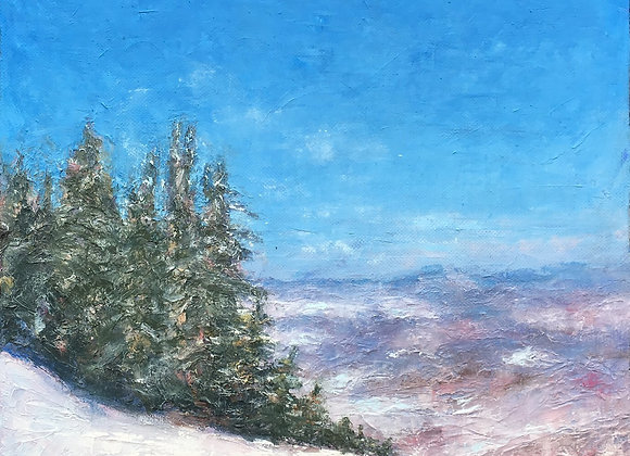 Steamboat Ski Resort painting, ski slope artwork, Colorado ski slope art, Yampa Valley impressionistic painting, snowy art