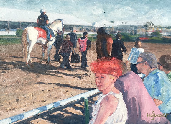 Preakness oil painting, racetrack spectator artwork, post-parade horseracing art, Pimlico people painting