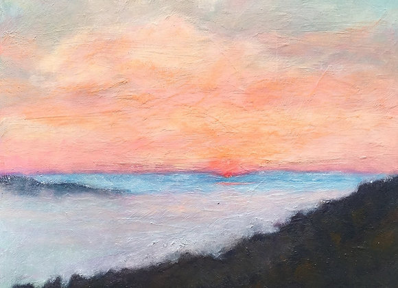 coral and turquoise abstract painting, California foggy sunset artwork, Carmel Valley sunset art, fog and sun painting