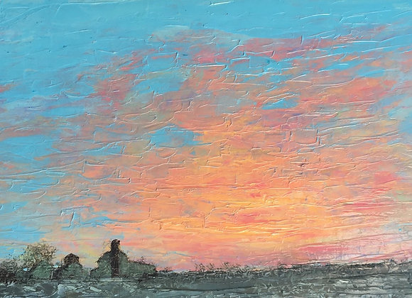 turquoise and coral painting, Northwest Ohio farm artwork, snowy farm art, brilliant sunrise painting, awe-inspiring sky art