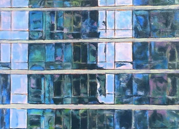 skyscraper oil painting, abstract reflection artwork, blue semi-abstract art, abstract cityscape painting, architectural art