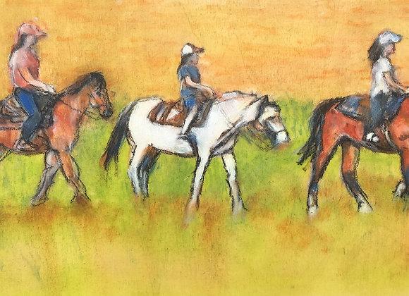 horses Yellowstone painting, girls riding horses artwork, affordable horseback riders paintings, girls on horses artwork