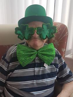 A resident enjoying St Patricks Day