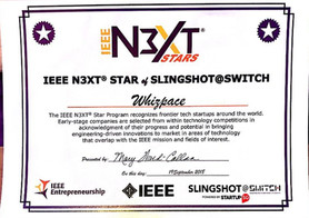 IEEE Next Star award which was given to Whizpace in acknowledgement of their progress and potential in briding engineering-driven innovations to market in areas of technology that overlap with the IEEE mission and fields of interest.