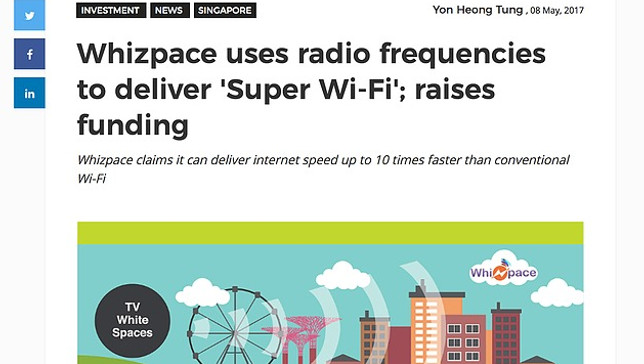 Whizpace uses radio frequencies to deliver 'Super WiFi' which can deliver internet speed of up to 10 times faster than conventional WiFi.