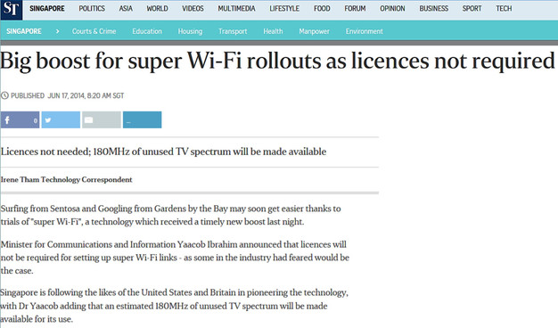 Big boost for super WiFi rollouts as licences are not required and 180 MHz of unused TV spectrum will be made available