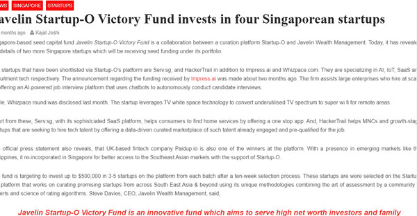 Javelin Startup-O Victory Fund invests in Whizpace