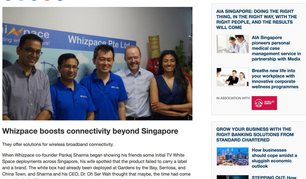 Whizpace offers solutions for wireless broadband connectivity which boosts connectivity beyond Singapore.