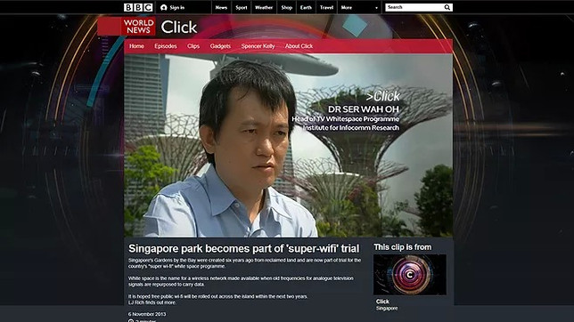 Singapore park has become part of 'super-wifi' trial.