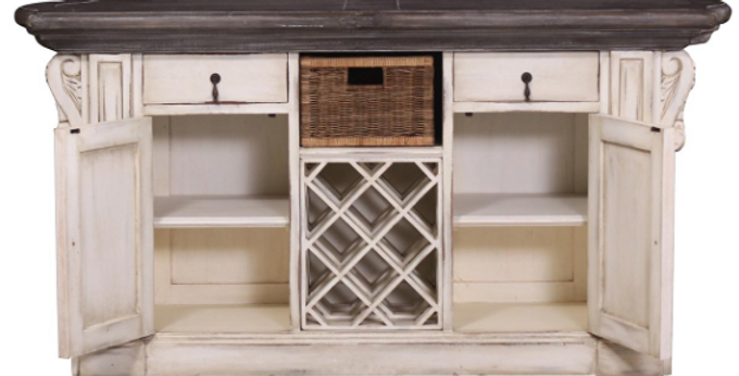 Charleston Kitchen Island w/ Corbels & Basket