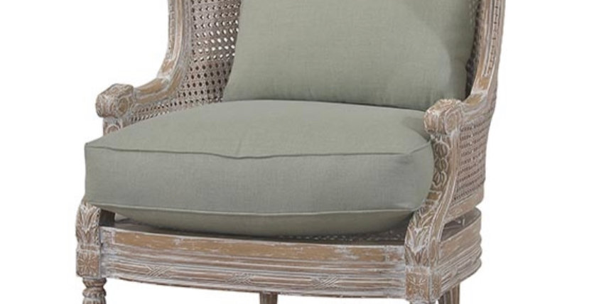 French Wing Chair w/ Rattan