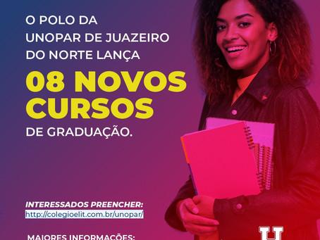 O Polo da UNOPAR de Juazeiro do Norte, lança 8 novos cursos de Graduação.