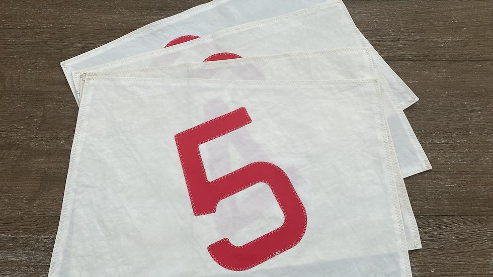 """4 Tischsets  """"Ebbe und Flut"""" beige/rot"""